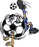 Soccer Player Ball Cartoon. Cartoon soccer ball kicking soccer ball Royalty Free Stock Image