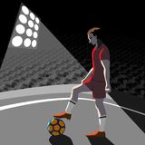 Soccer player with ball on field, vector illustration. Black and white background Stock Photos