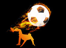 Soccer player with ball fire background. Soccer player somersault kicking with ball fire background Stock Image