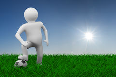 Soccer player with ball on grass. 3D image Royalty Free Stock Photography