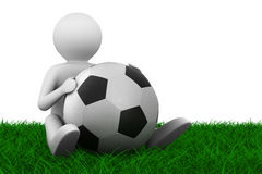 Soccer player with ball on grass. Isolated 3D image Stock Photo