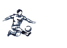 Soccer player with ball illustration Stock Image