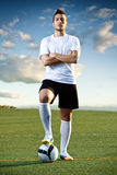 Soccer player with ball, outdoors Royalty Free Stock Photos