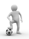Soccer player with ball on white background Royalty Free Stock Photos
