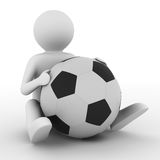 Soccer player with ball on white background Royalty Free Stock Images
