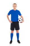 Soccer player with a ball on white background Royalty Free Stock Photo