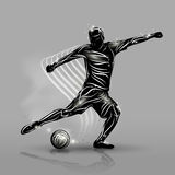 Soccer player black style. Silhouette soccer player black style with gray background Stock Photo