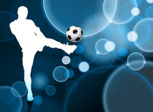Soccer Player on Blue Bubble Background Stock Photos