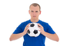 Soccer player in blue shirt with a ball isolated on white backgr stock image