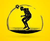 Soccer player bouncing a ball action graphic vector. Royalty Free Stock Images