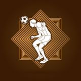 Soccer player bouncing a ball action graphic vector. Stock Images
