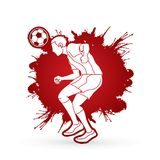 Soccer player bouncing a ball action graphic vector. Stock Image