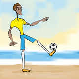 Soccer Player Cartoon Illustration Editable With Background Stock Photography