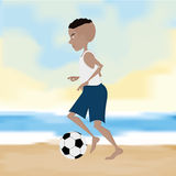 Soccer Player Cartoon Illustration Editable With Background Royalty Free Stock Image