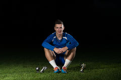 Soccer Player Celebrating Victory While Holding Win Coup Royalty Free Stock Photos