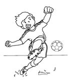 Soccer player coloring page Royalty Free Stock Images