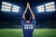 Soccer player with costume of Euro 2016 Royalty Free Stock Images