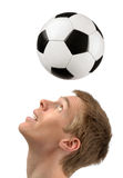 Soccer player demonstrating headers Stock Images