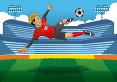 Soccer player doing jump volley kick. Vector of soccer player doing jump volley kick Royalty Free Stock Photo
