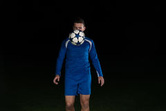 Soccer Player Doing Kick With Ball Royalty Free Stock Image