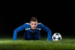 Soccer Player Doing Pushups Stock Image