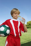 Soccer Player Drinking Water Royalty Free Stock Photos
