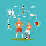 Soccer player with equipment. Sport concept vector illustration in flat style design. Stock Photos