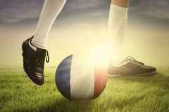 Soccer player exercising with ball Royalty Free Stock Photo