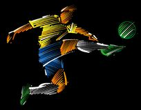 Soccer player flying to kick the ball. Made of colorful brushstrokes on dark background Royalty Free Stock Photo