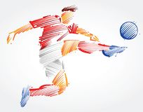 Soccer player flying to kick the ball. Made of colorful brushstrokes on light background Stock Images