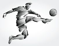 Soccer player flying to kick the ball. Made of black brushstrokes on light background Royalty Free Stock Photography