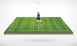 Soccer player and soccer football ball in area of soccer field. Soccer player and soccer football ball in area of soccer field with white background. Abstract Royalty Free Stock Photo