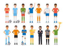 Soccer player, football sport athlete character set Royalty Free Stock Image