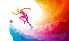 Soccer player. Footballer kicks the ball in trendy abstract colorful polygon style vector illustration