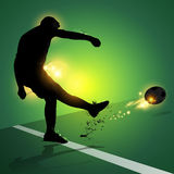 Soccer player free kick shooting Royalty Free Stock Photo