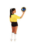 Soccer player girl. Royalty Free Stock Photo