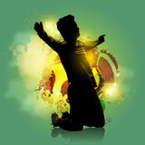 Soccer player goal colorful background. Silhouette soccer player celebration with colorful background Royalty Free Stock Photography