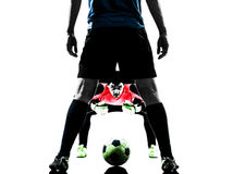 Soccer player goalkeeper competition silhouette Royalty Free Stock Photography