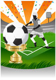 Soccer player with gold cup champion. Soccer player on the soccer field with gold cup champion Royalty Free Stock Photo
