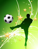 Soccer Player on Green Abstract Light Background Royalty Free Stock Photos