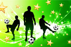 Soccer Player on Green Abstract Light Background Royalty Free Stock Photography