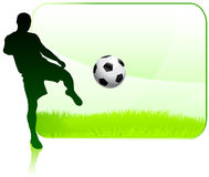 Soccer Player on Green Nature Frame Stock Image