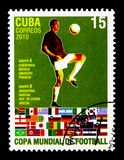 Soccer player, Groups A & B, Football World Cup - South Africa serie, circa 2010. MOSCOW, RUSSIA - NOVEMBER 25, 2017: A stamp printed in Cuba shows Soccer player stock photography