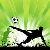 Soccer Player on Grunge Background. Soccer Player with ball on grunge background, element for design, vector illustration Royalty Free Stock Images