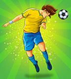 Soccer Player Head Shooting a Ball Royalty Free Stock Photos