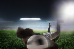 Soccer player heading a soccer ball Stock Photo
