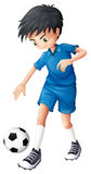 A soccer player in his complete blue uniform Stock Images