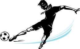Soccer Player and his speed kick Royalty Free Stock Photo