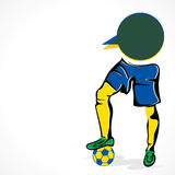 Soccer player hit ball concept. Player with the ball or soccer world cup 2014 concept Royalty Free Stock Photo