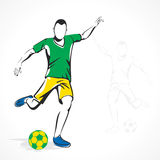 Soccer player hit ball Stock Photos
